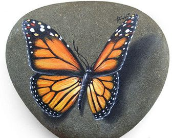 Painted Rocks  Painted Monarch Butterfly Rock by PetRocksbyTheresa