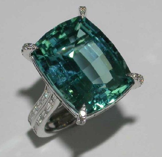 Mark Patterson Blue Green Tourmaline with Baguette Diamonds.