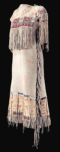 This very early side-seam style Nehiyaw dress is an example of the type of clothing made from the skin of the buffalo.