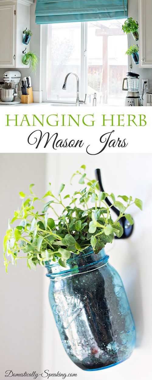 Domestically Speaking has yet another way of hanging your Mason Jar Herb Garden in your kitchen and it looks great!  See how she does it…you will be picking your fresh herbs in NO TIME!!!