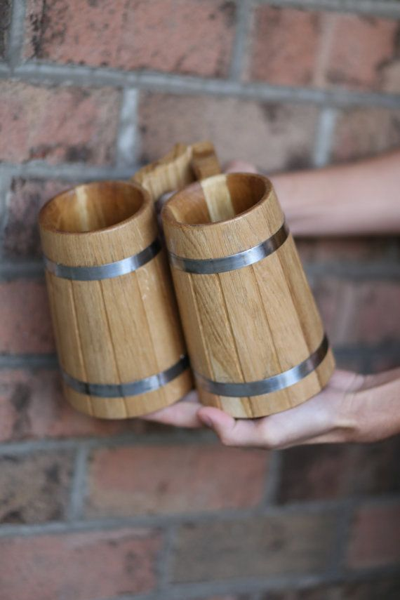 Set of 2 Personalized Wooden Beer Mugs 0.7 l by oakwoodwork