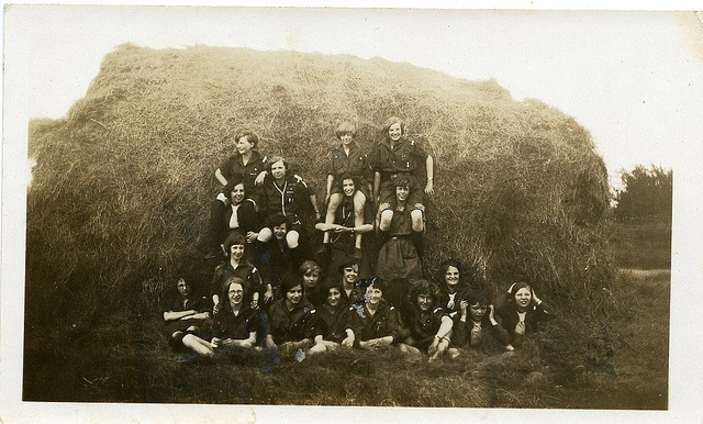 Girl Guides in front of Haystack by Girl Guides of Canada. Circa 1929