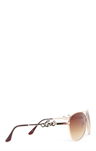 Deb Shops Metal Aviator Sunglasses with #Love on Arms $10