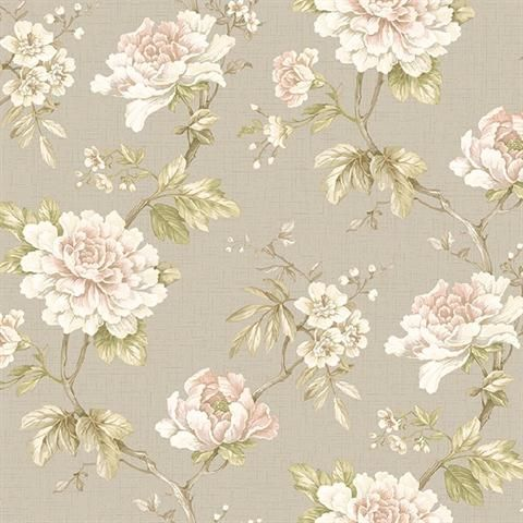 256146, Windermere by York | Pale Pink and Taupe Madaline Floral Wallpaper | TotalWallcovering.Com