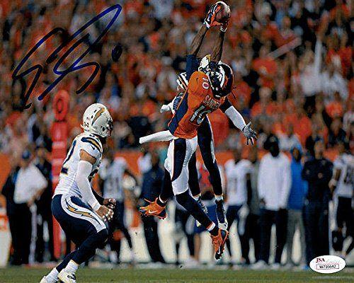 Emmanuel Sanders Signed Denver Broncos 8 x 10 Photograph jumping vs chargers – JSA Authenticated – Autographed NFL Photos