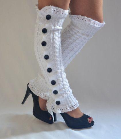 Leg warmers-white cable knit slouchy open button down lace leg warmers knit lace leg warmers boot socks women's accessory fashion socks