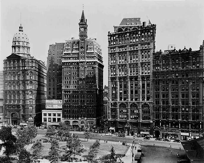 Newspaper Park Row. Center building once tallest. photo by Berenice Abbott. New York City