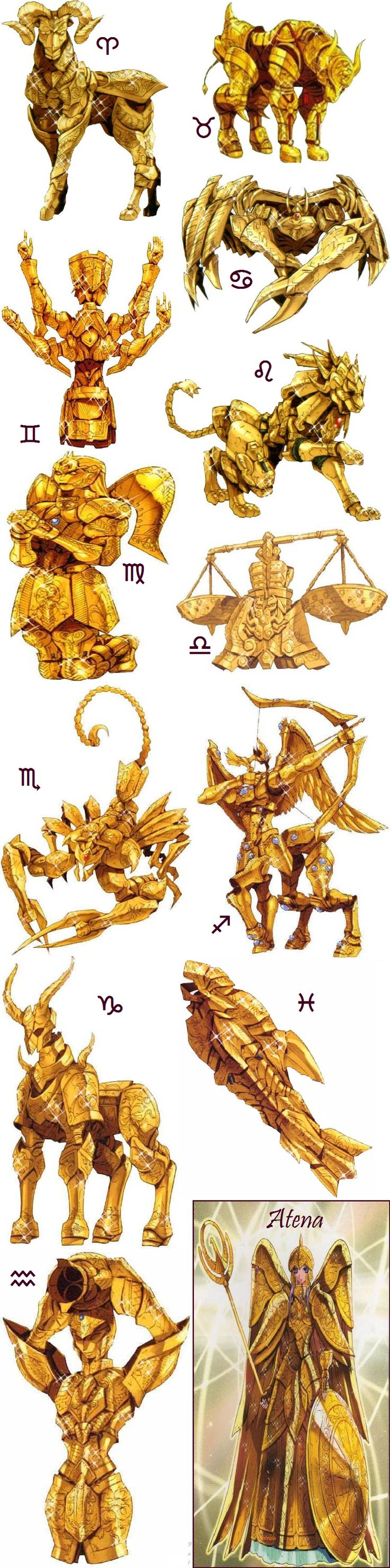 Armaduras dos Cavaleiros de Ouro e Deusa Atena♕♥