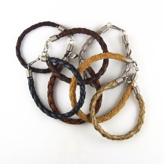 Braided leather bracelets 4 strand with steel coil caps and