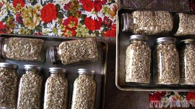 """My Mom has dry canned oats for several years, and really it is the easiest thing. Simply heat the oven to a low 225 degrees, fill quart jars with oats to within 1/4 inch of the top, and top with lids and rings. The jars can """"bake"""" on their sides for 45-60 minutes. Remove from the oven, stand them carefully upright, and be patient for the """"pop"""" of the lids."""