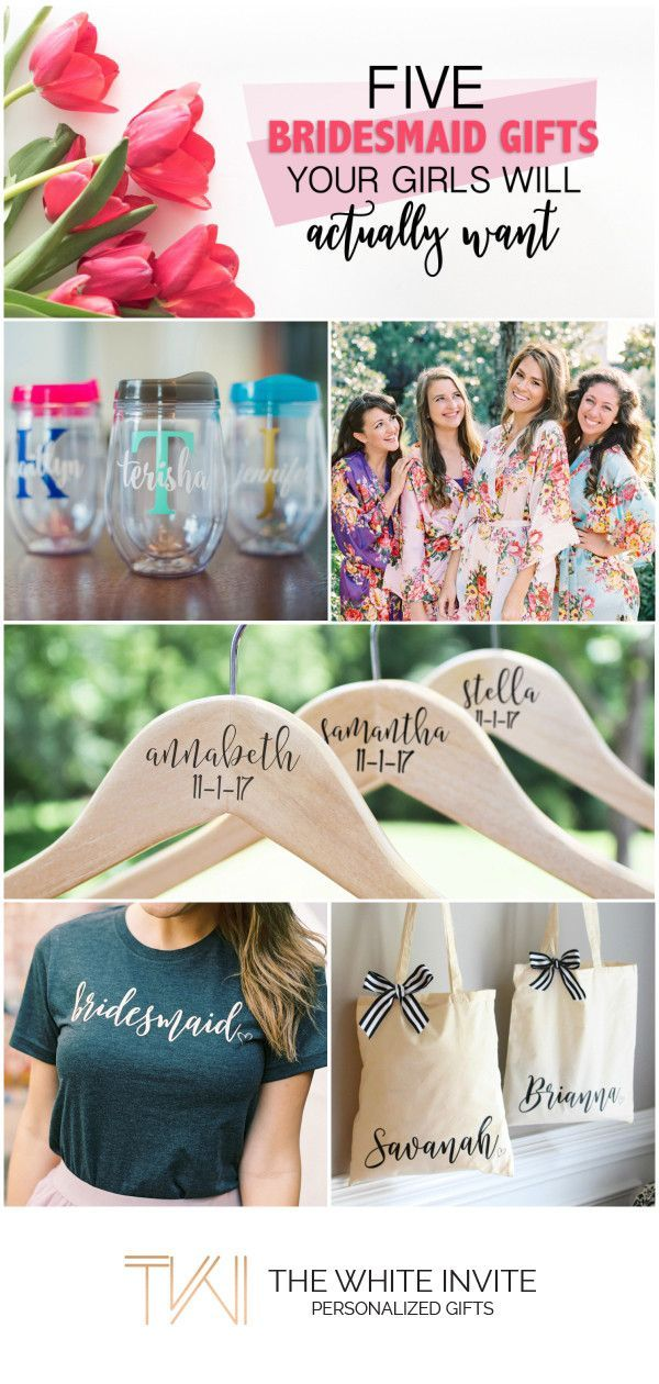 Five Bridesmaid Gifts they Actually Want - Personalized Bridesmaid Gifts - get your bridesmaids something that they will keep. Wedding robes, wedding hangers, wedding tees, tote bags, wine tumblers, ring dishes and more!