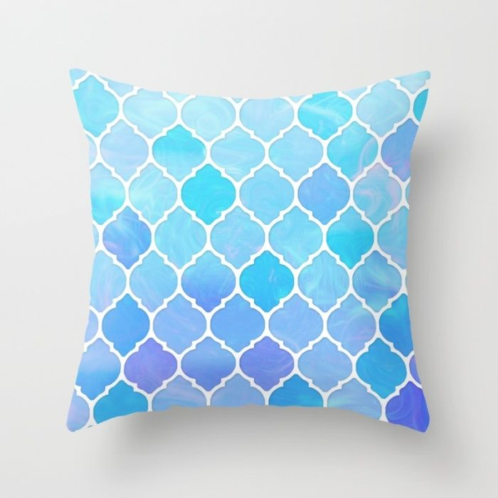 Blue and purple glass Moroccan print Throw Pillow by Kokos Patterns | Society6