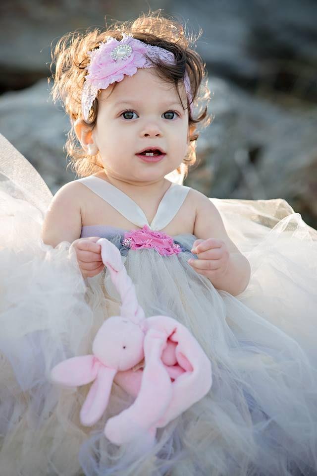 Shabby chic flower girl tutu dress. Flowers, satin ribbon, tulle.