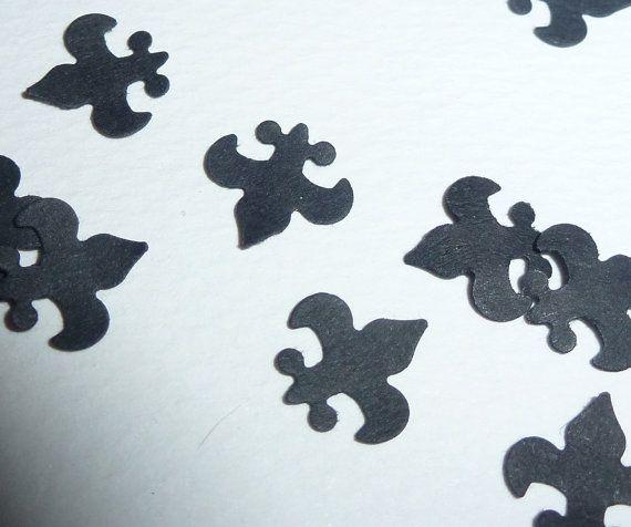50pcs small cardstock black Fleur De Lis punch die by AzraelWest, Kč32.00