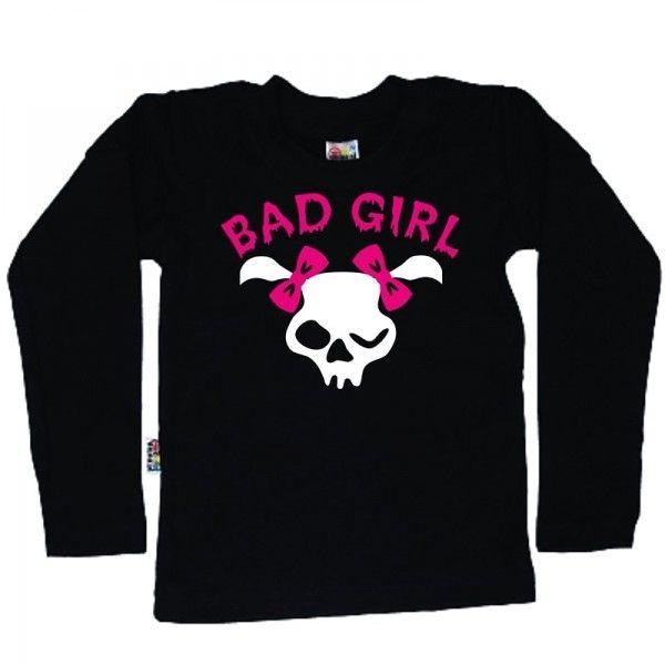Koszulka dziecięca z długim rękawkiem - czaszka Bad Girl z FamilyInBlack.pl