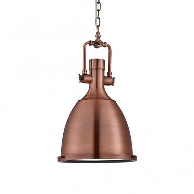 Searchlight Lighting Single Light Industrial Style Ceiling Pendant In Antique Copper Finish With Frosted Glass Diffuser