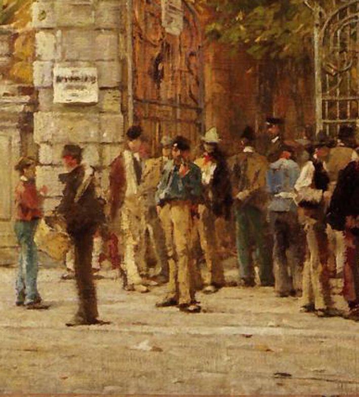 Filippo Carcano Archivio, L'ora del riposo durante i lavori dell'Esposizione del 1881, 1881, olio su tela, 70,5 x 122 cm, Milano, Galleria d'Arte Moderna