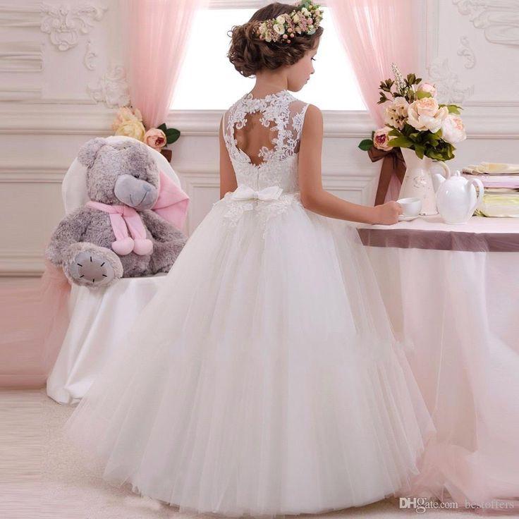 Vestidos 2016 de la venta caliente vestidos de marfil blancos del piso de la princesa niña de las flores de encaje de tul longitud del vestido de bola de la muchacha para los vestidos de boda para niños