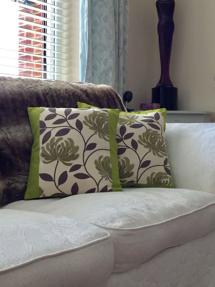 Retro fabric cushion, fresh lime flowers with toning plain lime green back