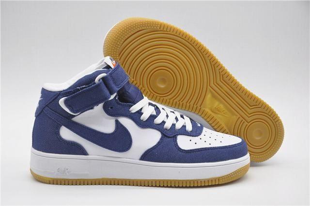 nouvelle basket nike,air force 1 mid blanche et bleu   air jordan ... d60755bd8d38
