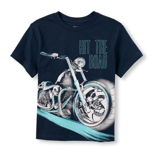 s Boys Short Sleeve Motorcycle Graphic Tee - Blue T-Shirt - The Children's Place