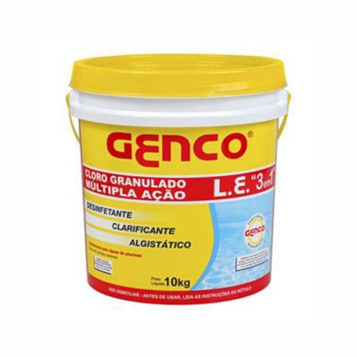 """Cloro Balde Gran. Múltipla Ação 10kg L.E 3em1 Genco. Líder de vendas, o GENCO L.E. – Cloro Granulado Múltipla Ação """"3em1"""" é mais que um cloro, com a alta qualidade GENCO."""
