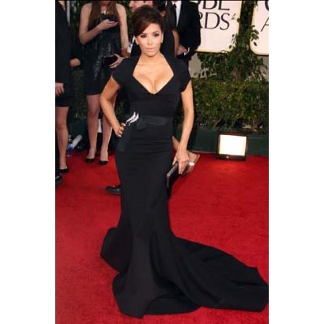 Eva Longoria 2011 Golden Globes Red Carpet Black Evening Gown Formal Dress