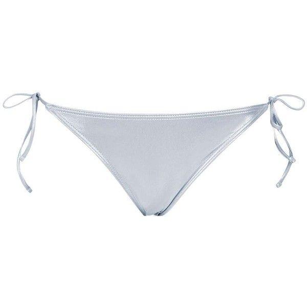 Topshop Metallic Tie Side Bikini Bottoms ($18) ❤ liked on Polyvore featuring swimwear, bikinis, bikini bottoms, silver, silver bikini, tie bottom bikini, tie bikini bottom, tie-dye swimwear and side tie bikini