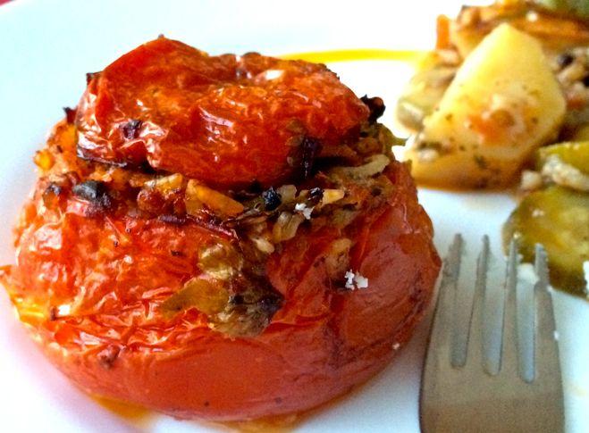 Authentic Greek stuffed tomatoes-Gemista - Olive Tomato