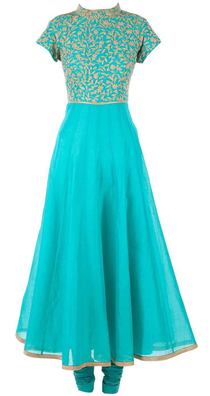 Blue chanderi anarkali with cord work available only at Pernia's Pop-Up Shop