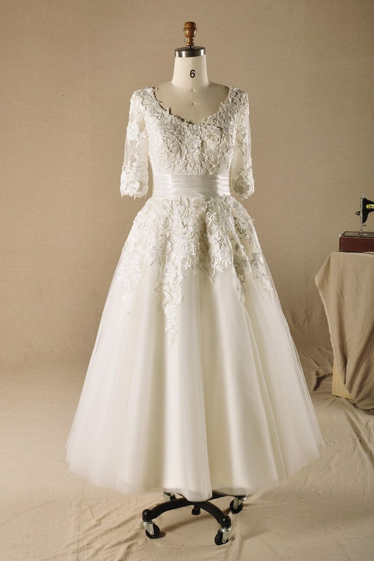 Lovely v neck half sleeve ankle length wedding dress read for Ankle length wedding dress with sleeves