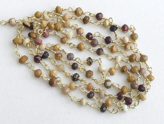 Jasper Faceted Rondelle Beads Connector Chains in by gemsforjewels