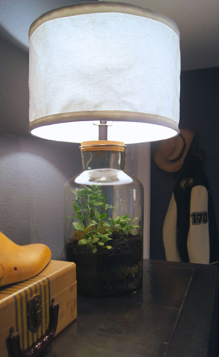 collapsable canvas shade and terrarium from a 50 home good 39 s lamp. Black Bedroom Furniture Sets. Home Design Ideas