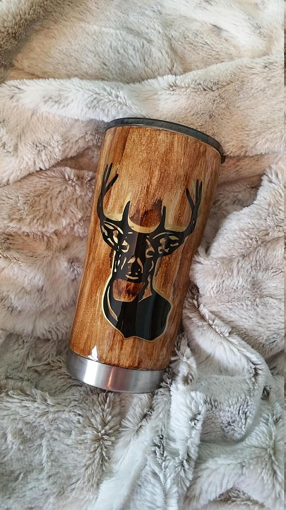 Wood Grain Deer Tumbler Hunting Tumbler Mens Gift