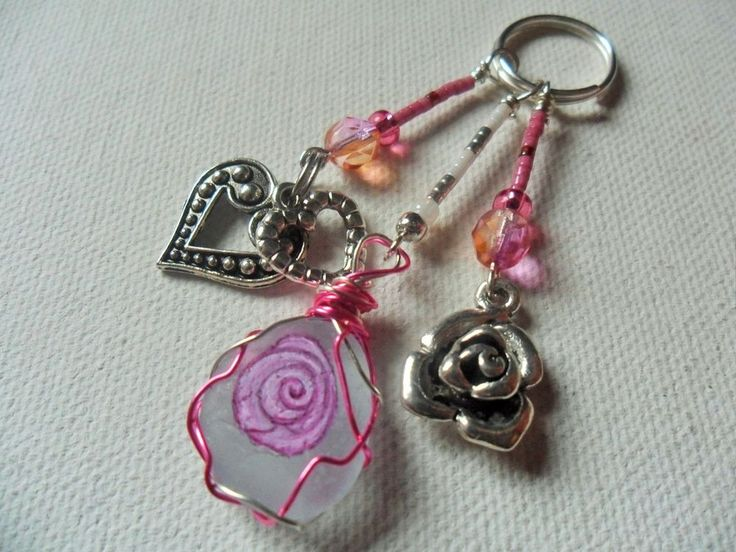 Pink rose Valentine bag charm/zip pull hand painted art
