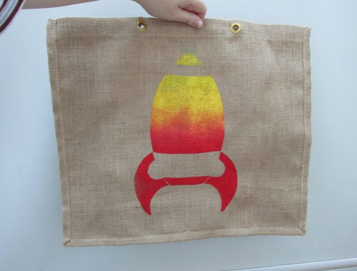 ©Helen J Taylor Design Screen printed rocket design on a jute bag