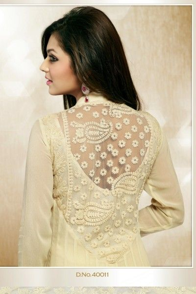 Back Detail: Beautiful Cream Faux Georgette and Net Churidar Suit Rs 4,199