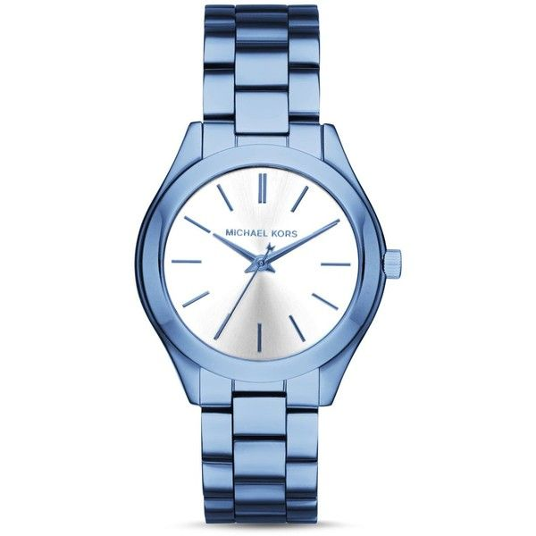 Michael Kors Mini Slim Runway Watch, 33mm ($195) ❤ liked on Polyvore featuring jewelry, watches, michael kors, silver watches, michael kors watches, silver wrist watch and blue watches