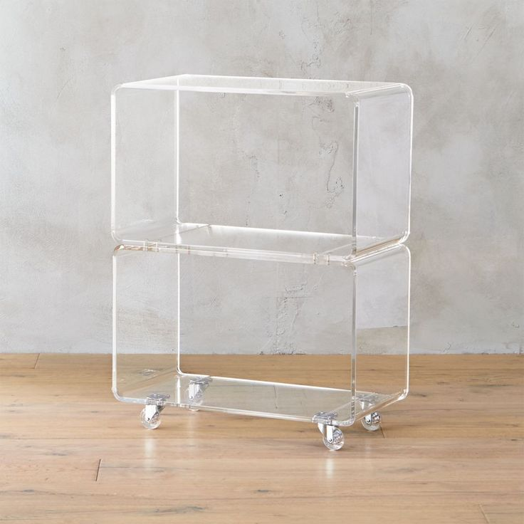 Best Peekaboo Acrylic Rolling Two Shelf Cb2 In 2020 Acrylic 400 x 300
