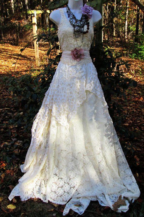 Cream wedding dress antique crochet lace rose by vintageopulence