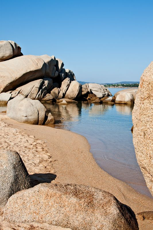 Cala Scylla (Pools of Porto Rafael) is formed by huge rocks smoothed by the wind. Porto Rafael, Sardegna, Italy