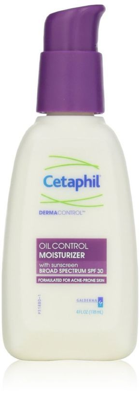 Cetaphil DermaControl Oil Control Moisturizer The skin-softening SPF-infused formula works overtime keeping oily skin from greasing up. It contains a cocktail of sebum fighters like silica (to absorb), zinc (to regulate oil production), and polymethyl methacrylate, which curbs that dreaded midday shine.