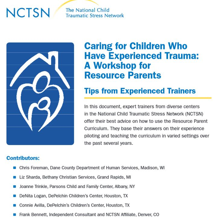 Caring for Children Who Have Experienced Trauma: A Workshop for Resource  Parents: Tips from