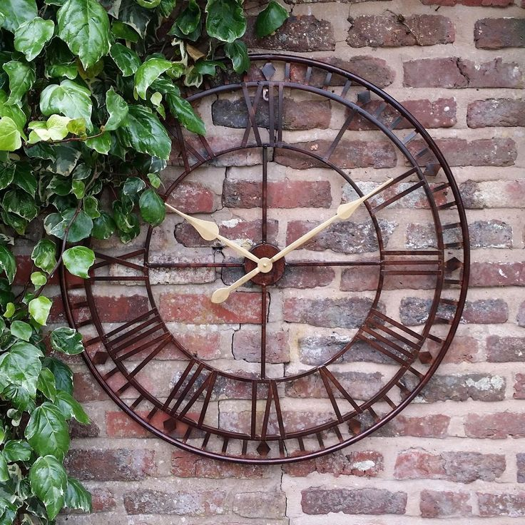 LARGE OUTDOOR GARDEN WALL CLOCK BIG ROMAN NUMERALS GIANT OPEN FACE METAL 80CM | eBay