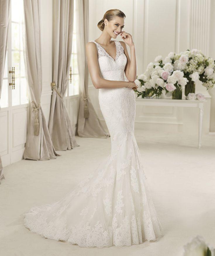 Wedding Dresses, Lace Wedding Dresses, Fashion, Mermaid, Lace, V-neck, V-neck Wedding Dresses, Pronovias, Sleeveless, lace straps, Pronovias Fashion