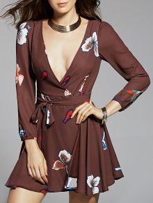 Long Sleeve Chiffon Surplice Dress