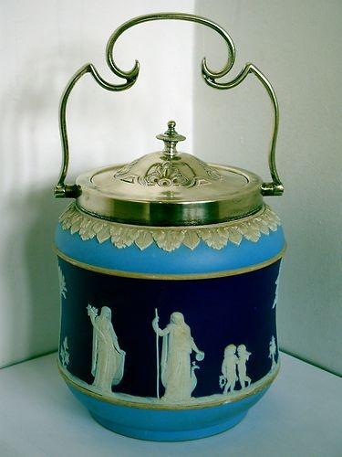 RARE ANTIQUE (circa 1900) Tri-Colour Wedgwood Jasperware Biscuit Barrel