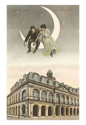 A vintage print of a couple over the moon in New Orleans, specifically the Cabildo.