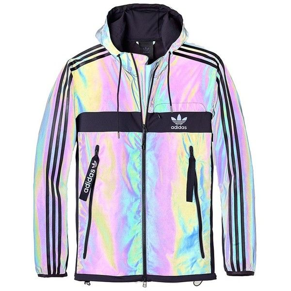 Adidas Xeno Windbreaker Jacket (Multicolour Black) ($115) ❤ liked on Polyvore featuring jackets, outerwear, coats & jackets, tops and adidas