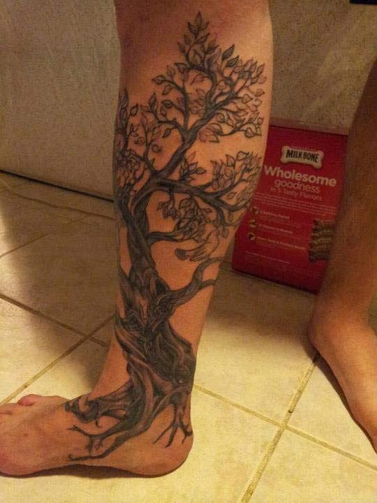 Cherry tree tattoo design on full leg.
